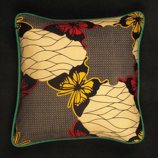 Darkroom   Ade Cushion - Square - Butterflies/Green Piping     www.darkroomlondon.com
