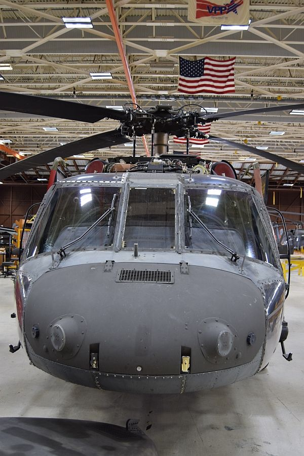 UH-60A Blackhawk nose-on A UH-60A Blackhawk in the hangar, most likely awaiting routine maintenance. According to Aviation Week Intelligence Network's (AWIN) Military Aircraft Database, the Army has 2380 Blackhawks on strength, including 1100 As and 700 Ls. Photo: Nigel Howarth