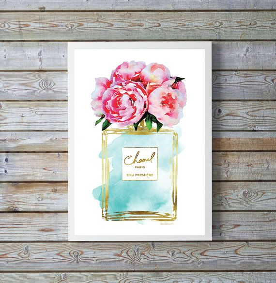 Pink Peony teal watercolor Gold effect perfume bottle fashion poster The foil is an effect, due to printers not being able to print foil.  - Dimensions: select from drop down menu - 8x10 inches 12x16 inches, 12x18 inches,16x20 inches,18x24 inches - 24x36 inches is available, please message for new listing. - Printed on archival, acid-free paper. - Museum-quality posters made on thick, durable, matte paper. - Most art comes with Signature on. - If you like an item in my shop but would like a…