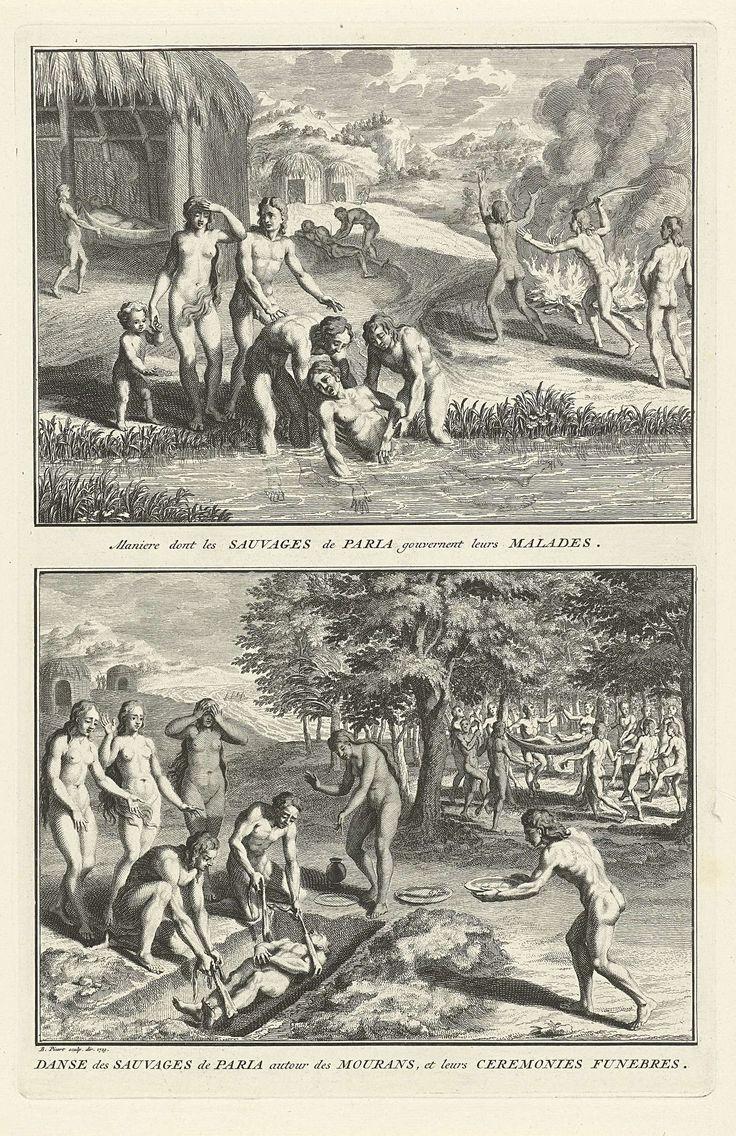 Bernard Picart | Genezen van zieken en begrafenis van Indianen uit Paria, Bernard Picart, 1723 | Blad met twee voorstellingen van rituelen van Indianen van het schiereiland Paria. Boven: Ritueel van Indianen om een zieke van koorts te genezen waarbij de zieke wordt ondergedompeld in de rivier, rond een vuur gedreven en gelegd in een hangmat. Onder: Een dode wordt begraven en krijgt voedsel mee in zijn graf. Onder de voorstellingen een onderschrift in het Frans.