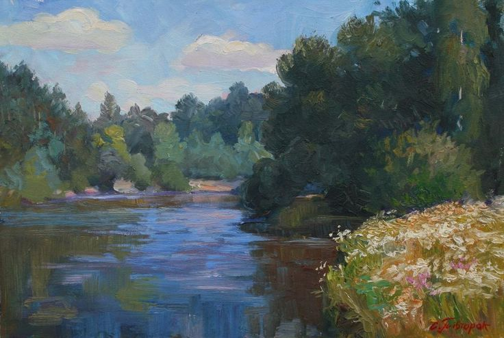 Original Painting Warm Summer Day Landscape Signed Europe Oil Impressionism Art #Impressionism