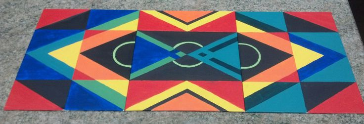 """""""tribal mix"""" 3 canvas panels side by side with gouache paint"""