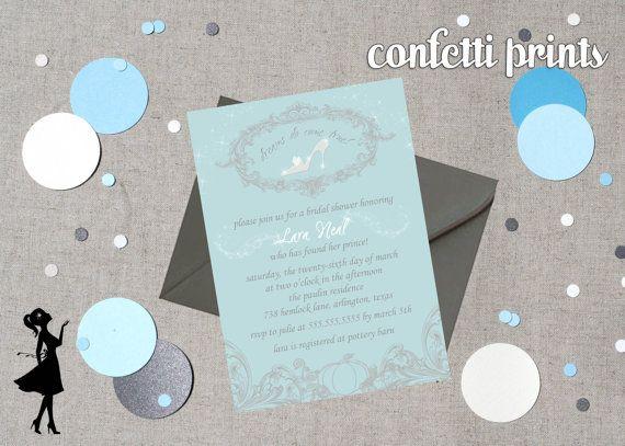 CINDERELLA Bridal Shower Invitation by ConfettiPrintsShop on Etsy, --------> My favorite invites so far! <3