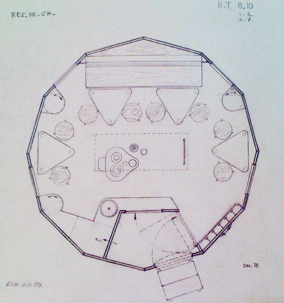 Plan du Refuge Tonneau, refuge de haute montagne en aluminium, 1938,  Charlotte Perriand