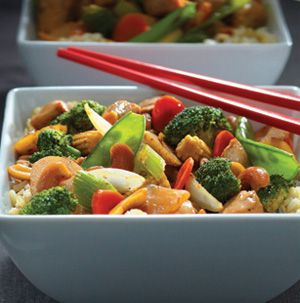 Spicy Cashew-Chicken Stir-Fry just might become your favorite weeknight dinner. It's fabulous with steak too.