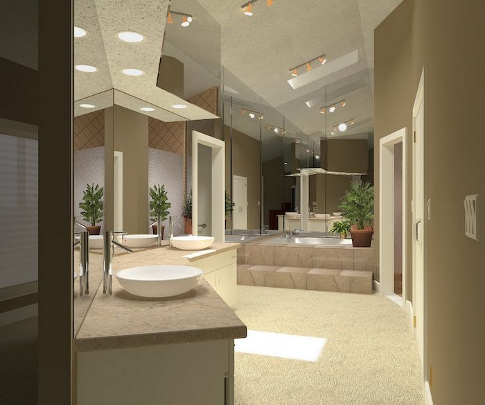 salle de bain design, portes blanches, tapis blanc, meubles sous vasque en bois, deco salle de bain