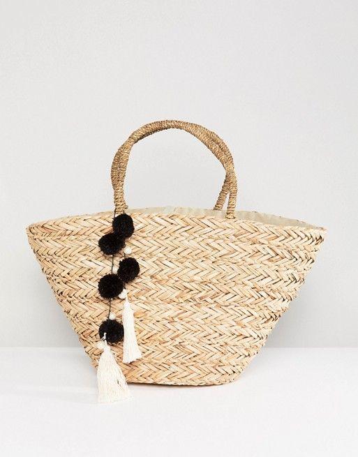 South Beach Straw Beach Bag With Black & White Pom - Asos #beachbag #bag #strawbag #handbag #summer #affiliatelink
