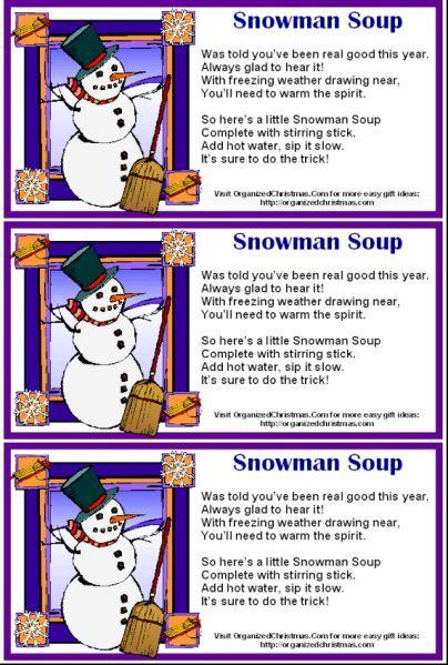 Snowman Soup Poem Printable | Snowman soup, Snowman soup ...