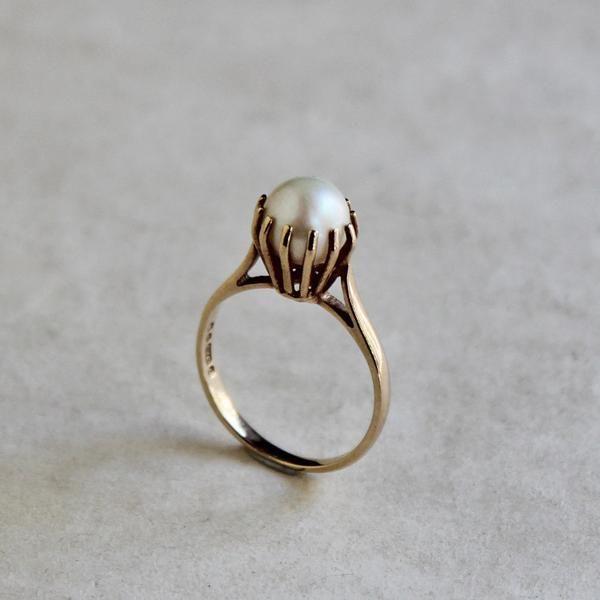 1968 Vintage Crown Setting Pearl Ring (K9 Gold) / ヴィンテージ・クラウンセッティング・パールリング