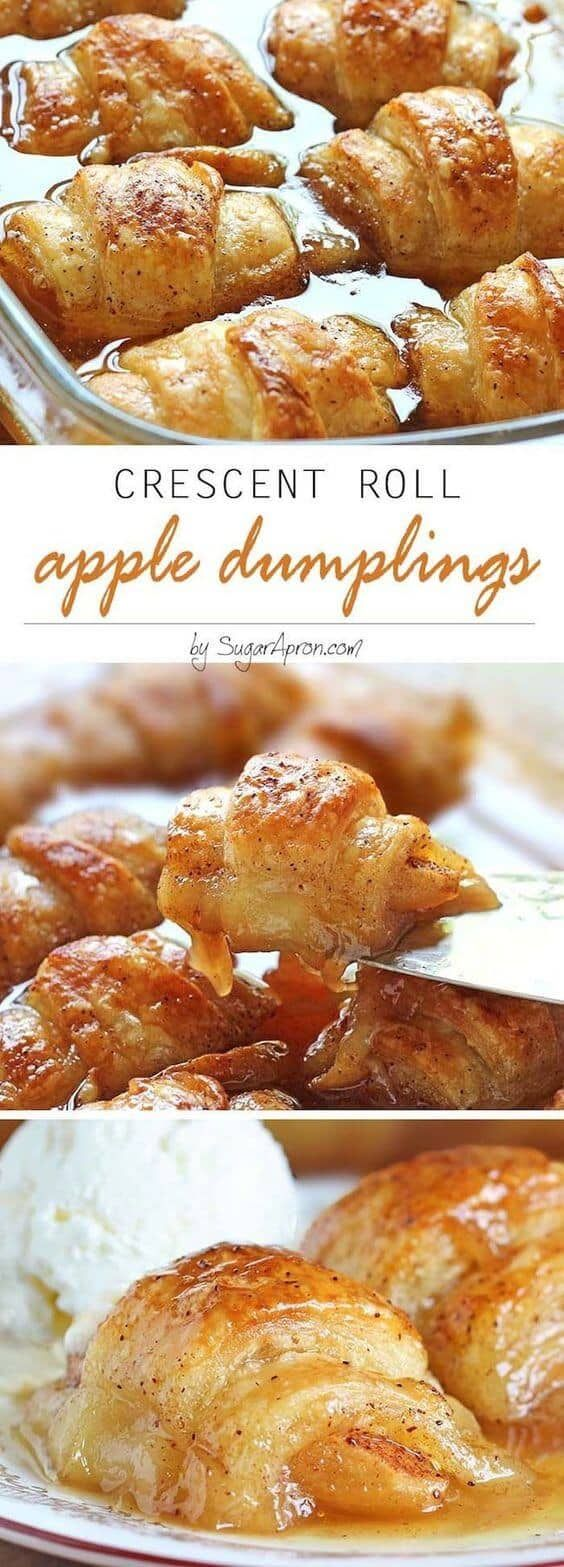 Crescent Roll Apple Dumplings - by Sugar Apron + other great Thanksgiving dessert Recipes! #thanksgiving #dessert #recipes