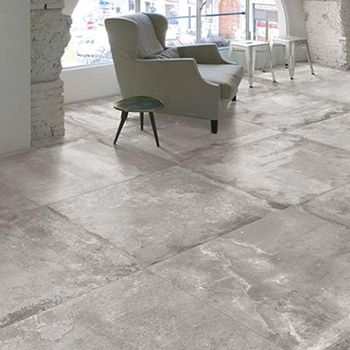 "31.5 x 31.5 porcelain tiles from United. Can be used in all tile areas. ""Concrete"" look."