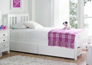 White Wooden Single Bed With Drawers