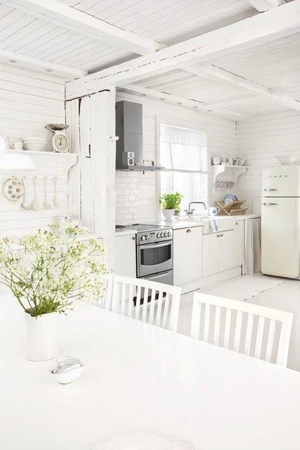 White kitchen with lovely smeg! xx