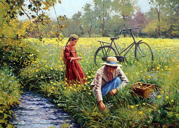 Fine Art Paintings Of Flowers   Flowers Painting by Roelof Rossouw - Picking Yellow Flowers Fine Art ...