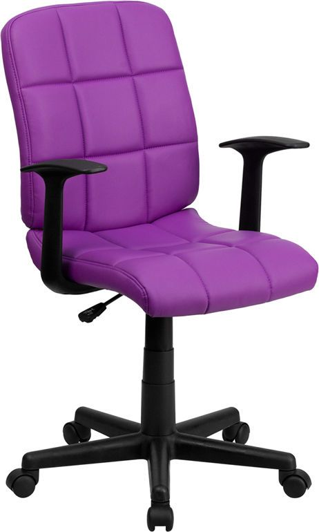 Quilted Seat U0026 Back Swivel Home Office Desk Dorm Room Chairs With Arms  6 Colors Part 41