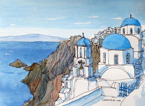 Santorini Oia Greece original watercolour by AndreVoyy
