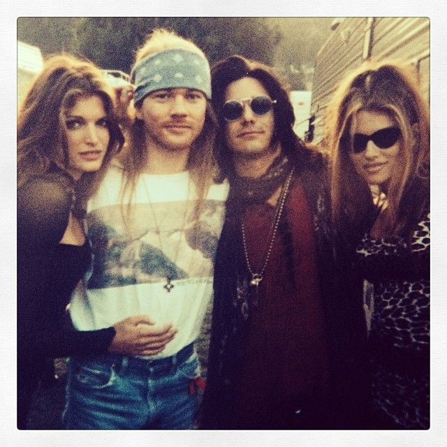 From left to right: Stephanie Seymour,Axl Rose,Gilby Clarke and wife Daniella