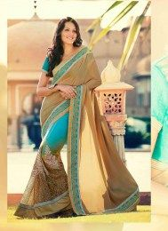 Chiffon, Net Fabric Latest Designer Emroidered Party Wear Sari
