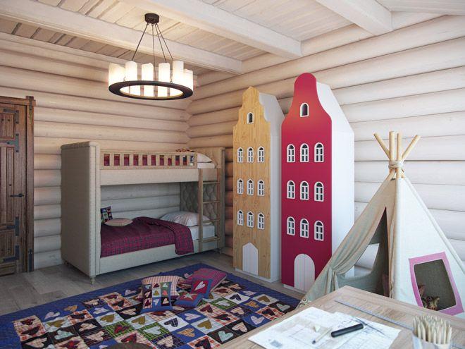 Детская комната. Дизайн интерьера таунхауса в стиле шале, 80 кв.м.