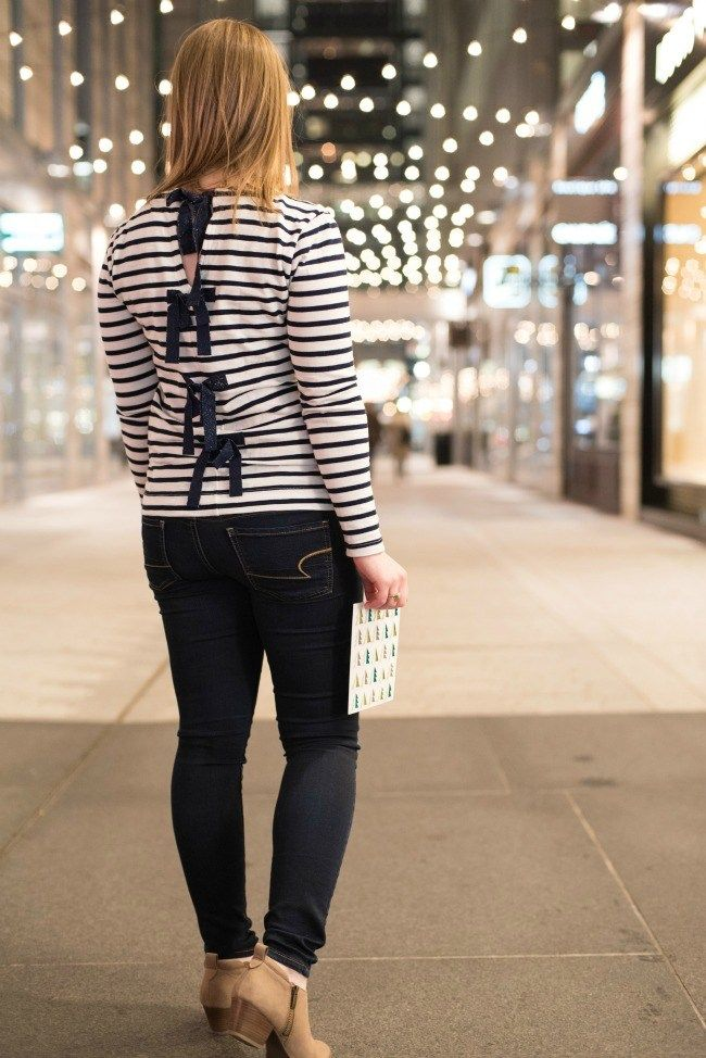 hallmark signature style, J.crew bow back stripe top, tee, american eagle outfitters, jeggings, aeo, skinny jeans, franco nordstrom ankle boots, women, fashion, style, clothes, clothing, holiday party, holiday parties, christmas party, jeans, denim