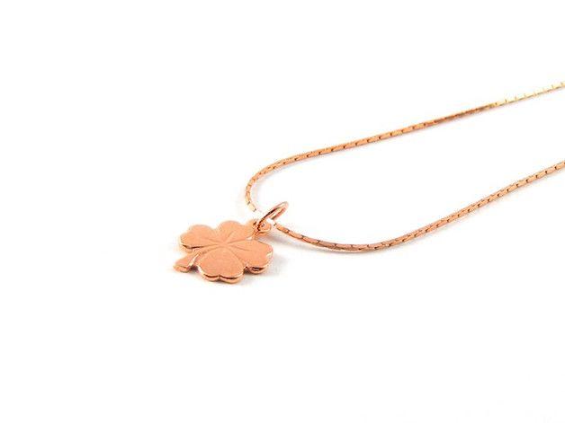 Goldketten - Zarte Halskette I Kleeblatt I Roségold - ein Designerstück von _KarmeNia_ bei DaWanda