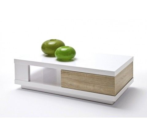 Table basse design taylor ii blanc laqu bois de ch ne for Table basse blanc laque