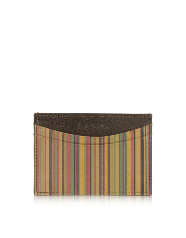 Paul Smith Mens Striped Genuine Leather Card Holder | FORZIERI