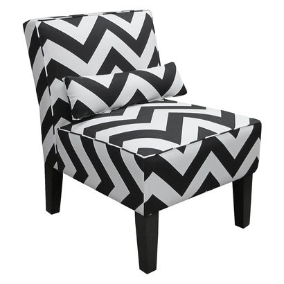 ZigZag Chevron Armless Slipper Chair-Black & White.Opens in a new window