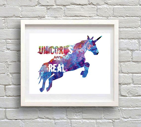 Unicorn Watercolor Print Unicorn Quote Unicorns are by MimiPrints