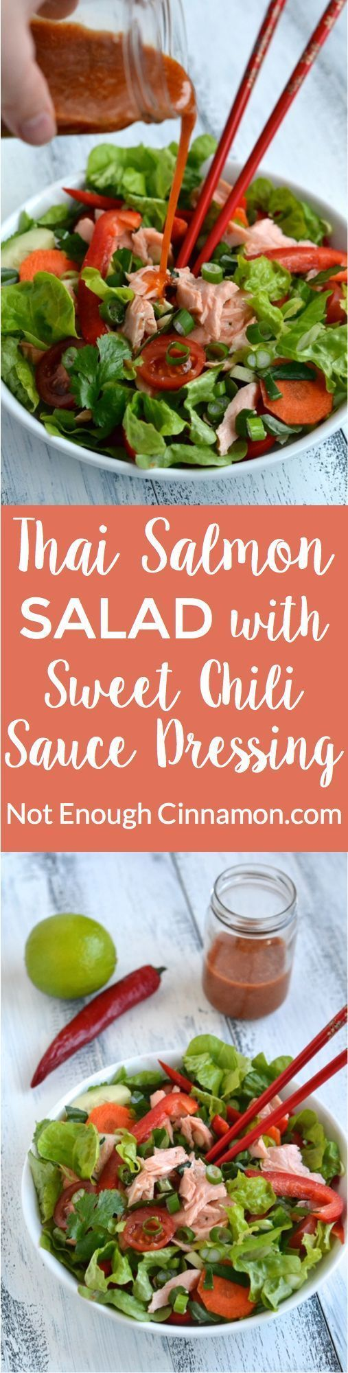 Thai Salmon Salad with Sweet Chili Sauce Dressing - find the recipe on NotEnoughCinnamon.com