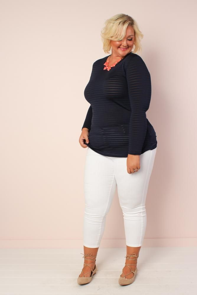 Plus Size Sheer Luck Long Sleeve Top - Navy – Society Plus