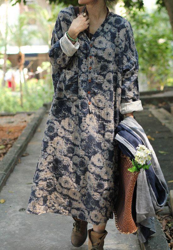 Women print dress cotton linen dress maxi dress / long par chaxuan