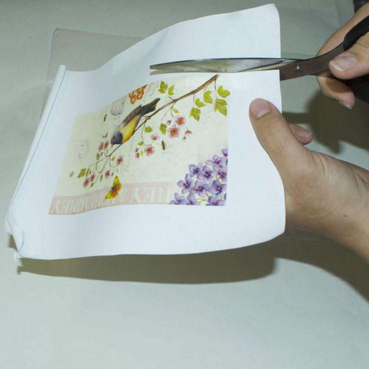 15 Грунтуем поверхность, истончаем  распечатку с помощью скотча,  вырезаем и  методом файлика клеим на ПВА, выгоняя валиком пузырьки воздуха и лишнего клея.