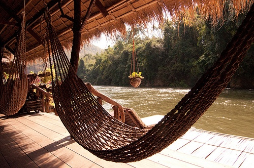 A hammock at the River Kwai Jungle Rafts floating hotel in Thailand.