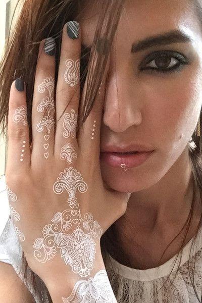 Heart Tattoo Designs Henna: White Henna Temporary Tattoo. Hearts Set. 2 Sheets