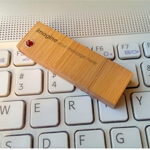 USB-Sticks - Bamboo XL USB stick gravur | Bernste | 64GB USB3.0 - ein Designerstück von ZaNa-Design bei DaWanda