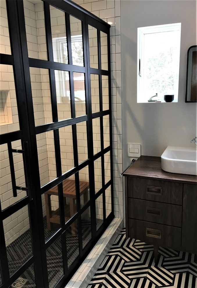 gridscape series factory window pane shower door featuring in industrial modern farmhouse bathroom white and black source ryan van note