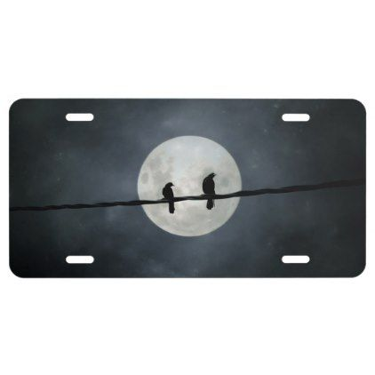 The Moon light Crows License Plate - light gifts template style unique special diy