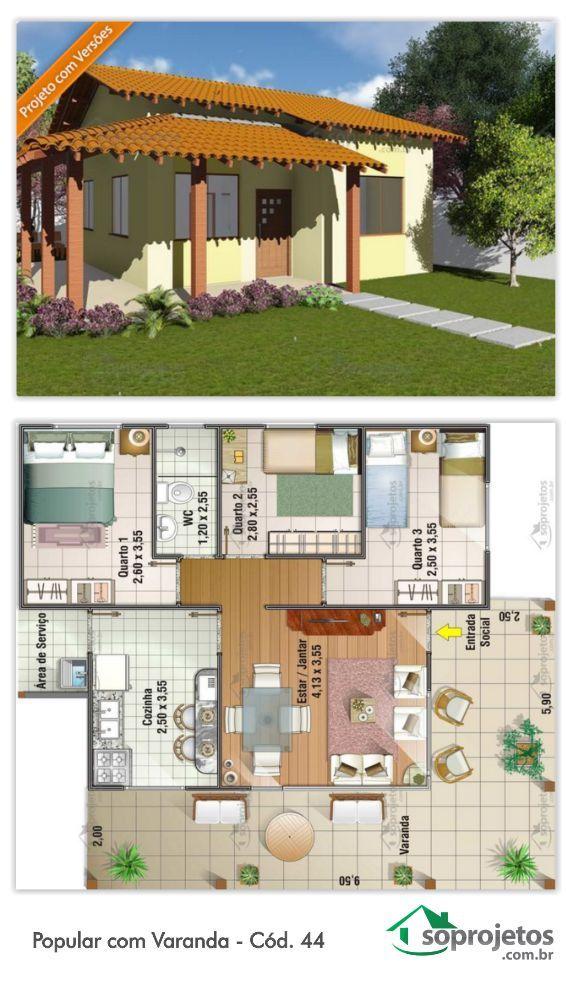 EXCELENTE RESIDÊNCIA PADRÃO POPULAR.  93 METROS QUADRADOS.  28,51 METROS QUADRADOS DE VARANDA  Residência de 3 dormitórios e com 1 banheiro. Sala de estar e jantar conjugados. Possui cozinha e área de serviço. Telhado em 2 águas.