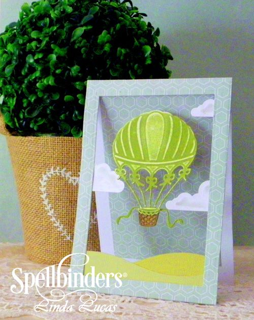 Up and Away Card - Scrapbook.com - Amazing floating hot air balloon and clouds on this pretty die cut card!