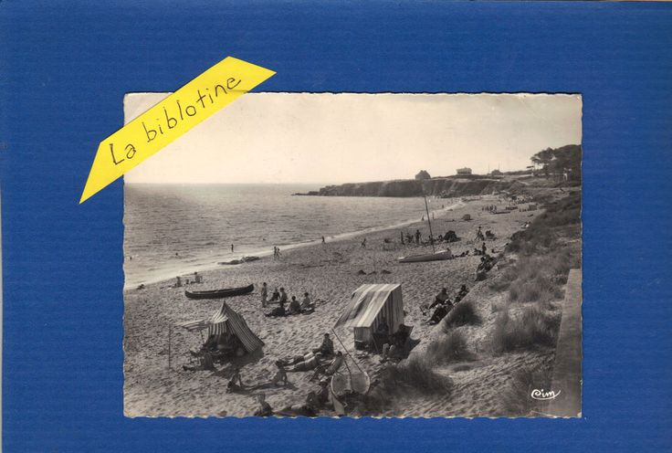 CPA PHOTO  ANIMEE - STE MARGUERITE PLAGE (44) - LA PLAGE DES JAUNAIS - 1954