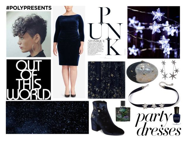 """""""Out Of This World:   #PolyPresents: Party Dresses"""" by kira-marie ❤ liked on Polyvore featuring Lauren Ralph Lauren, Ash, Deborah Lippmann, Nest, Judith Leiber, contestentry, polyPresents and plus size dresses"""