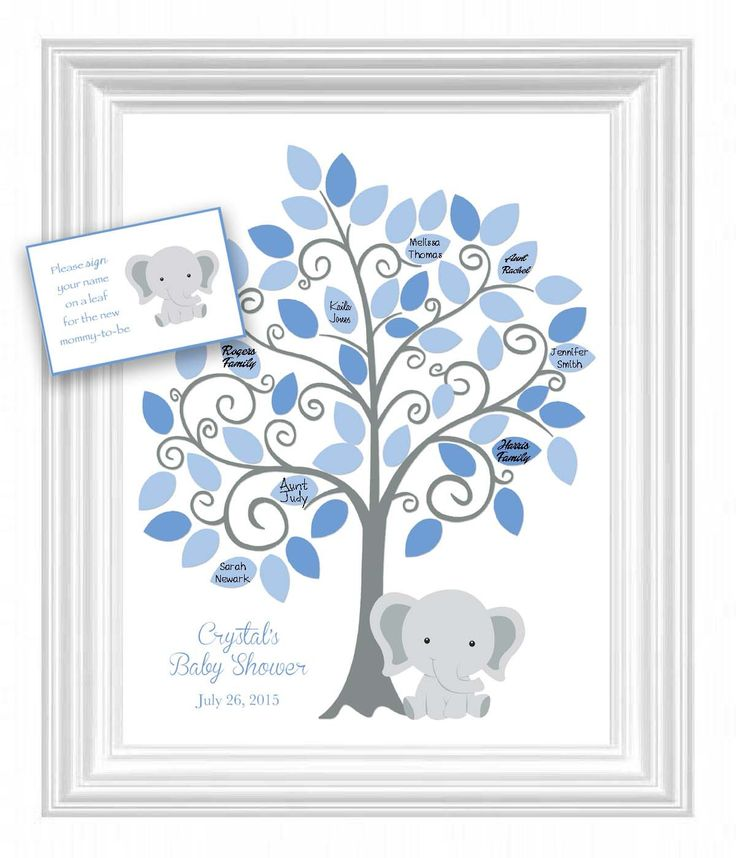 Baby Shower Guest 11x14 Sign-In Tree Poster - Elephant Baby Shower Guestbook Alternative - 50 leaves - Elephant Nursery Art - Other colors by KreationsbyMarilyn on Etsy