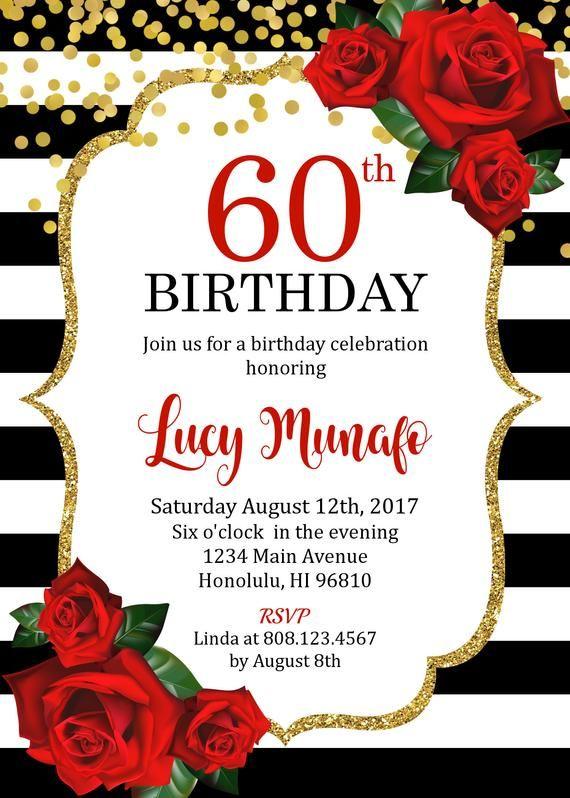 60th birthday invitation  women birthday invitation