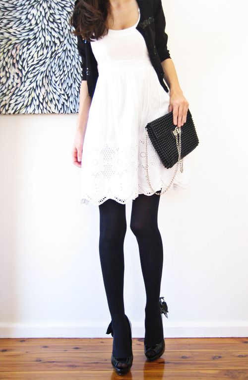 White Dress, Black Everything Else!: Dress Black, Fashion, Style, Black And White, Outfit, Dresses, Black White, White Dress, Black Tights