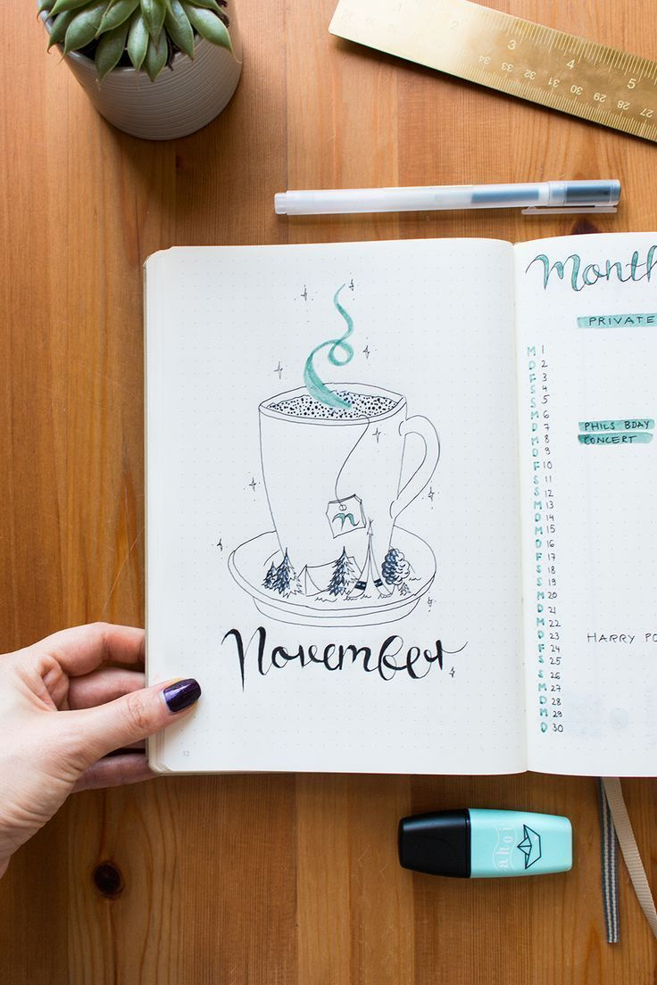 Bullet Journal Cover Page November – tea line draw…