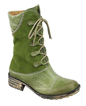 green lace up boot
