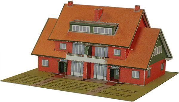 Bouwplaten. Goeman Borgesiusplein, Arnhem. Modelbouwplaat van woningen die de architect G. Versteeg ontwierp voor de 'Woningbouwvereniging voor Ambtenaren te Arnhem'. Grafisch Ontwerpers Arnhem
