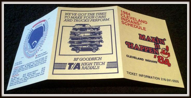 1984 CLEVELAND INDIANS BF GOODRICH BASEBALL POCKET SCHEDULE FREE SHIPPING #Pocket #Schedule