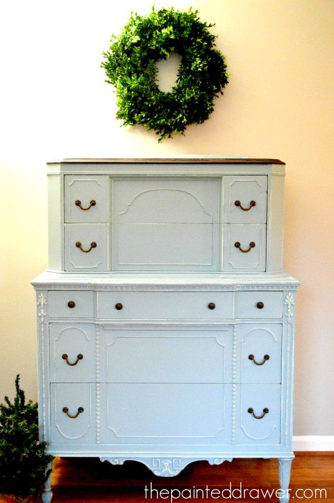 The Vintage Chest In Persian Blue   Before And After   The Painted Drawer